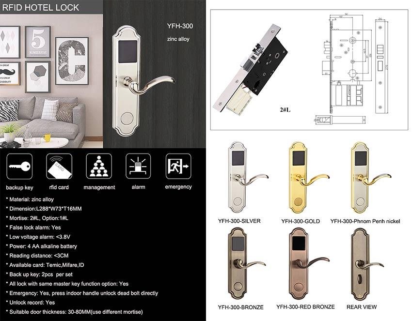 Zinc Alloy Hotel Door Lock YFH-300