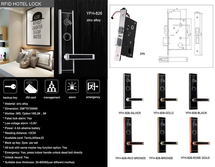 Zinc Alloy Hotel Door Lock YFH-826