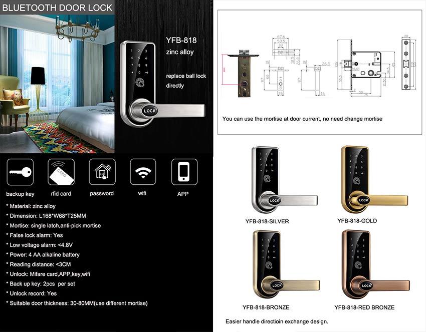 Password Bluetooth Door Lock YFB-818
